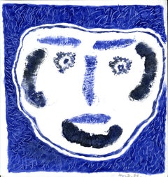 Tête fond bleu -  Monotype - Contemporary, French Artist Late 20th Century