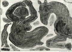 Femme et cheval -  Monotype - Contemporary, French Artist Late 20th Century