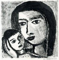 Mère et enfant -  Monotype - Contemporary, French Artist Late 20th Century