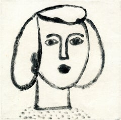 Portrait de femme -  Monotype - Contemporary, French Artist Late 20th Century