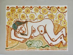 Femme qui dort -  Monotype - Contemporary, French Artist Late 20th Century