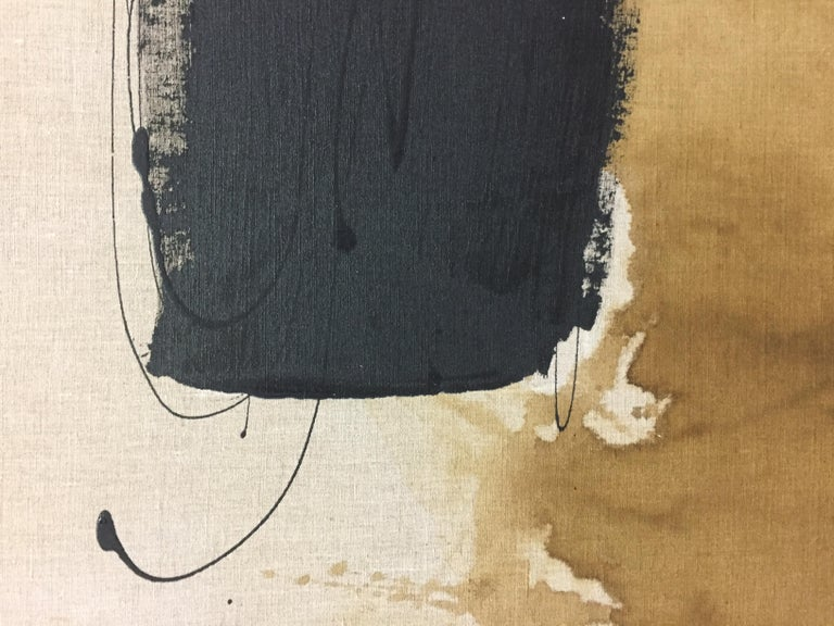 Ink and acrylic on stretched linen Mounted  Meighan Morrison is an American artist based in Connecticut. Meighan is excited by the accident, how it foils the plan, unceremoniously rerouting the vision. And contrast - light and dark, rough versus