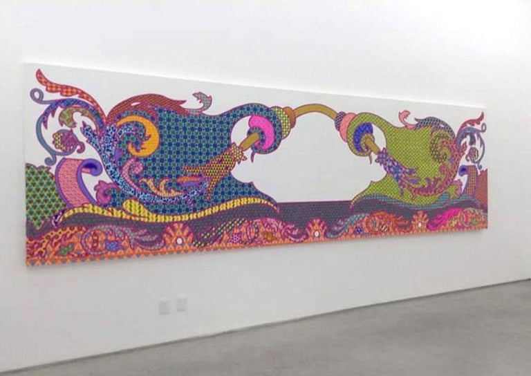 CAROLINA PONTE No Title, 2016 (Painting)  60 x 197 inches (150 x 400 cm) Acrylic on Linen  Message for videos of the piece with more details.  The extended present time and the attention in it appear as very distant and opposed to contemporary