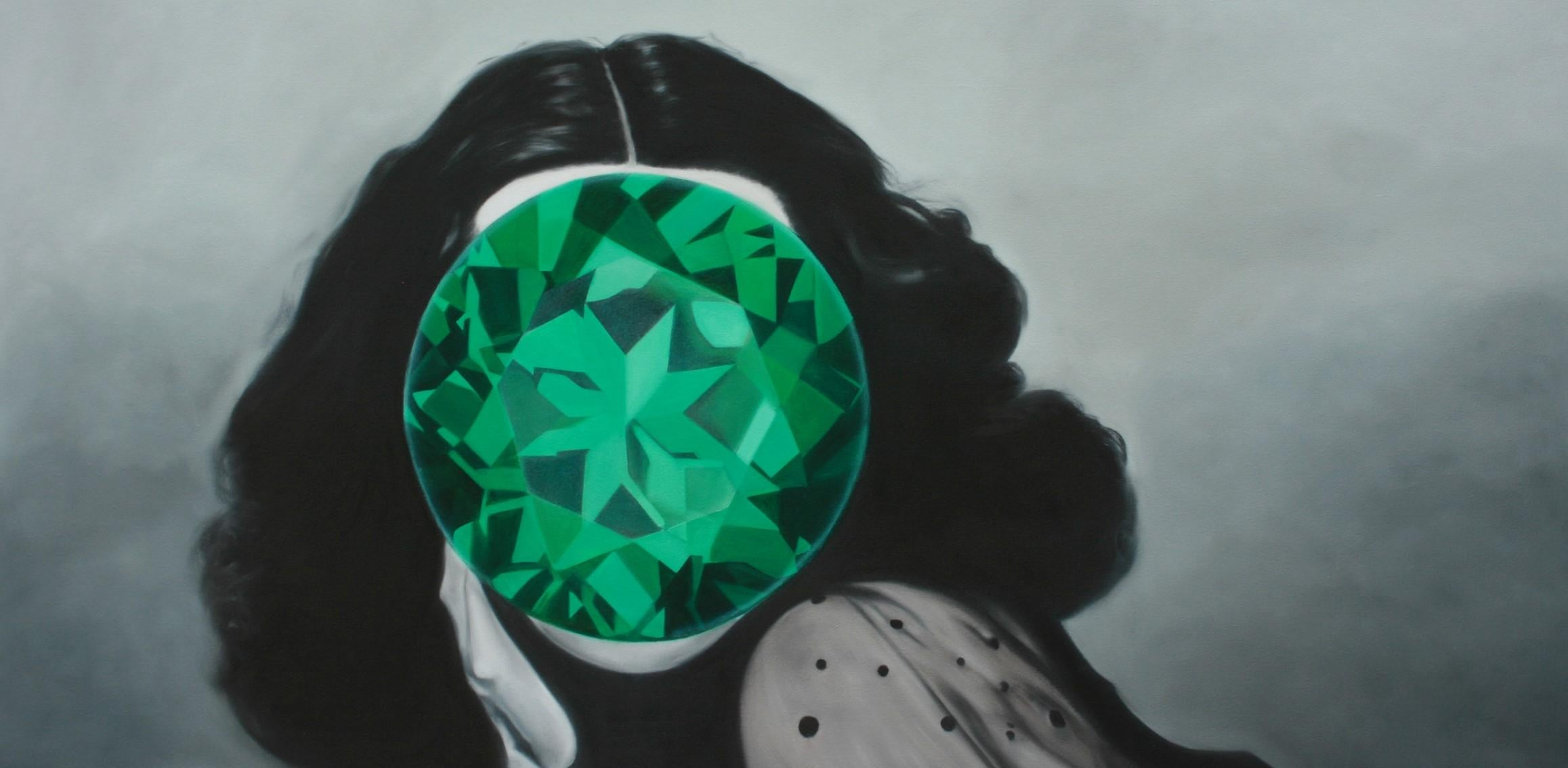 Emerald from the Mirror Stone series (Portrait Painting Hedy Lamarr)