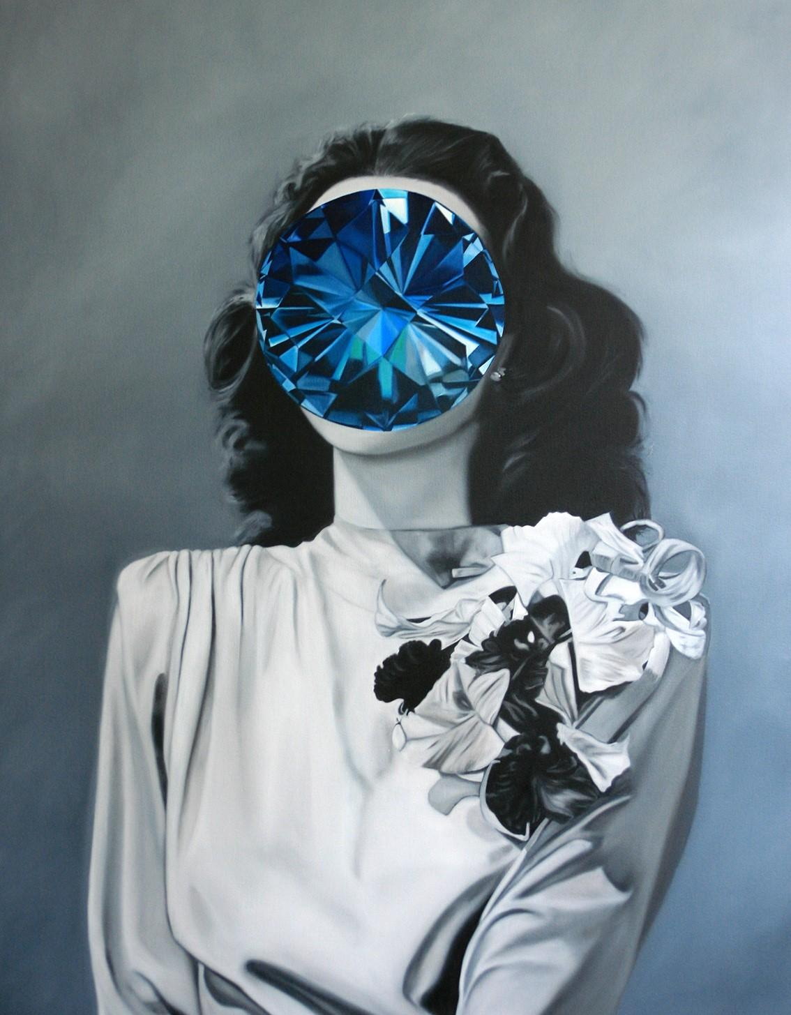 Topaz from the Mirror Stone series (Portrait Painting - Hedy Lamarr)