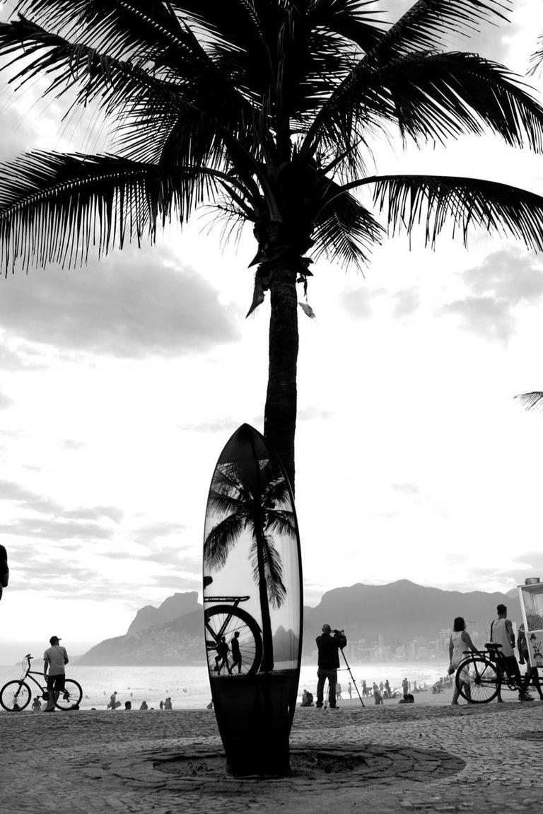 JOAQUIM NABUCO Surfboard Rio 3, Rio de Janeiro series  70 x 20 x 2.5 inches polyester resin; hand-shaped polyurethane foam; digital print Swallowtail: 70 h. x 20 x 2.5