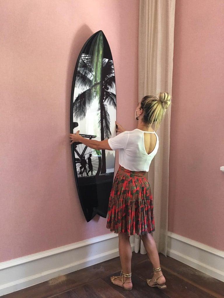 JOAQUIM NABUCO Surfboard I, Rio de Janeiro series  70 x 20 x 2.5 inches polyester resin; hand-shaped polyurethane foam; digital print Swallowtail: 70 h. x 20 x 2.5