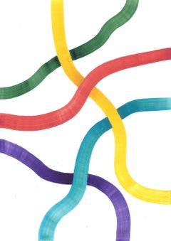 Metro lines - Colored abstract painting, work on paper