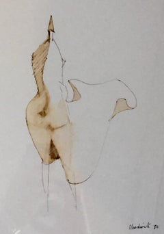 Study for High Wind, 1980 ink drawing by Lynn Chadwick for his bronze sculptures