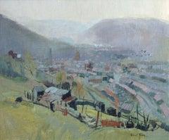 Rhondda valley, Wales, oil board, exhibit Royal Academy 1969 No.385, Robert King