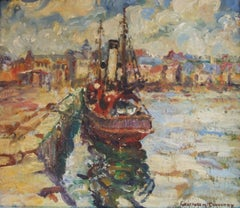 Steam Drifter, oil on canvas,Marine, Scottish colourist style, Gertrude Coventry