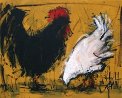 Basse cour by David Jamin, French artist, black chicken & white chicken on farm