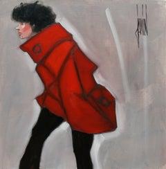 Bravant l'hiver by David Jamin, French artist, warm red winter coat