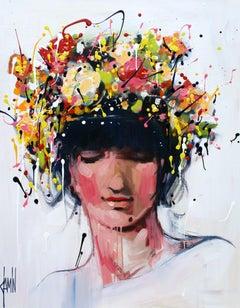 Des Fleurs dans les Cheveux by David Jamin, French, portrait, flower in her hair