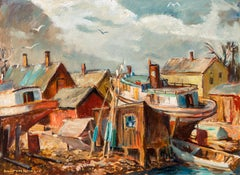 "1940s Regionalist Painting, ""Jones Island"" Fishing Cove, Oil on Canvas,"