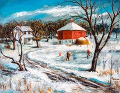 """American Winter Landscape Painting, Earl Raine,""""Octagon Barn"""",1950, Oil on Board"""