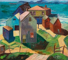 "Vintage American Modernist Painting, 1930, ""Massachusetts Coast"", Oil on Canvas"