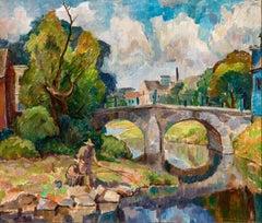 "American Impressionist Oil Painting, Circa 1940, ""Menomonee Falls Wi"""