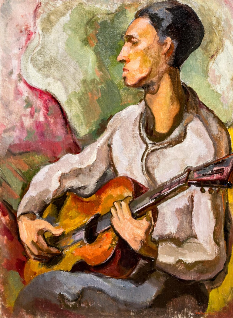 "Otto Rainer Niebuhr Figurative Painting - Vintage American Modernist Painting, 1949, Chicago, Otto Niebuhr,""The Guitarist"""