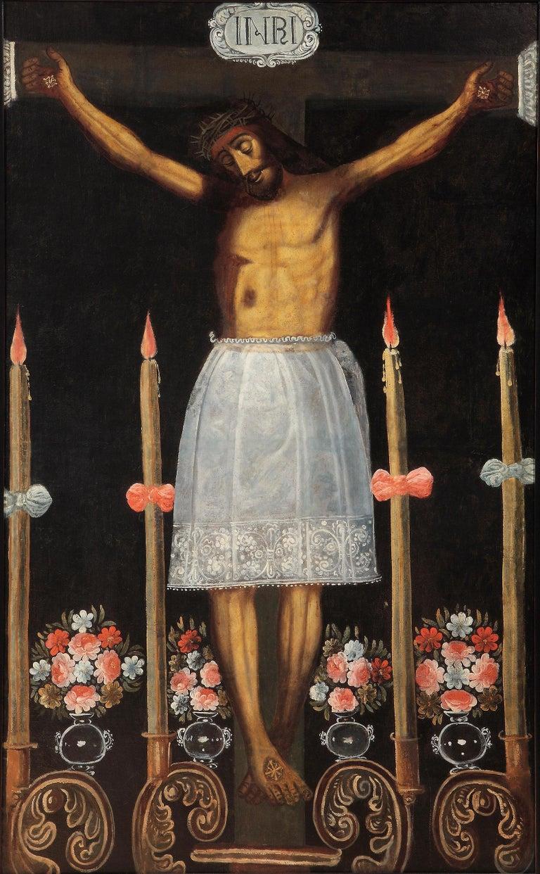 Peruvian, Cuzco School  Figurative Painting - Christ of the Earthquakes (Señor de los Temblores)