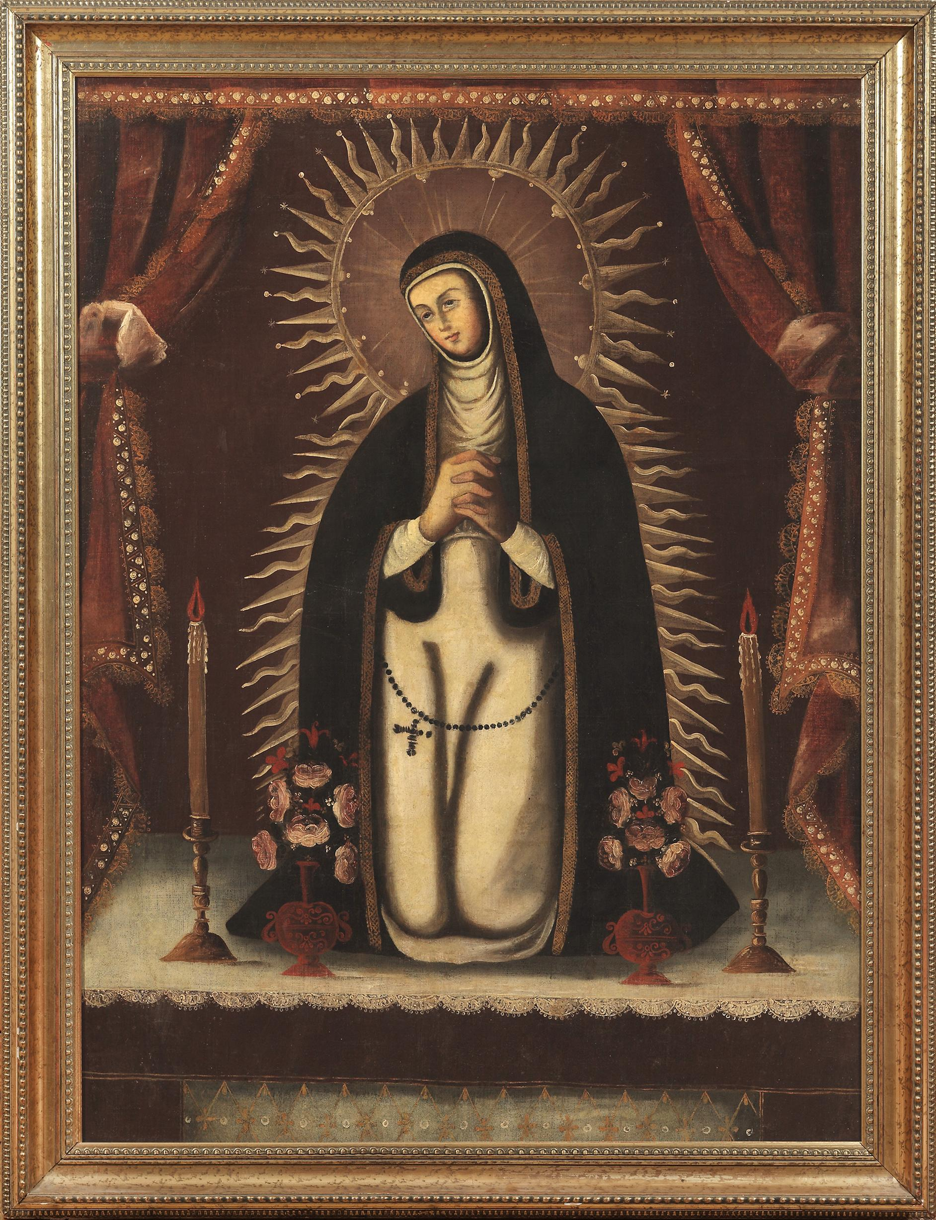 Nuestra Señora de la Soledad (Our Lady of Solitude), 18th century, by an unnamed painter in viceregal Mexico or Peru, offered by Robert Simon Fine Art