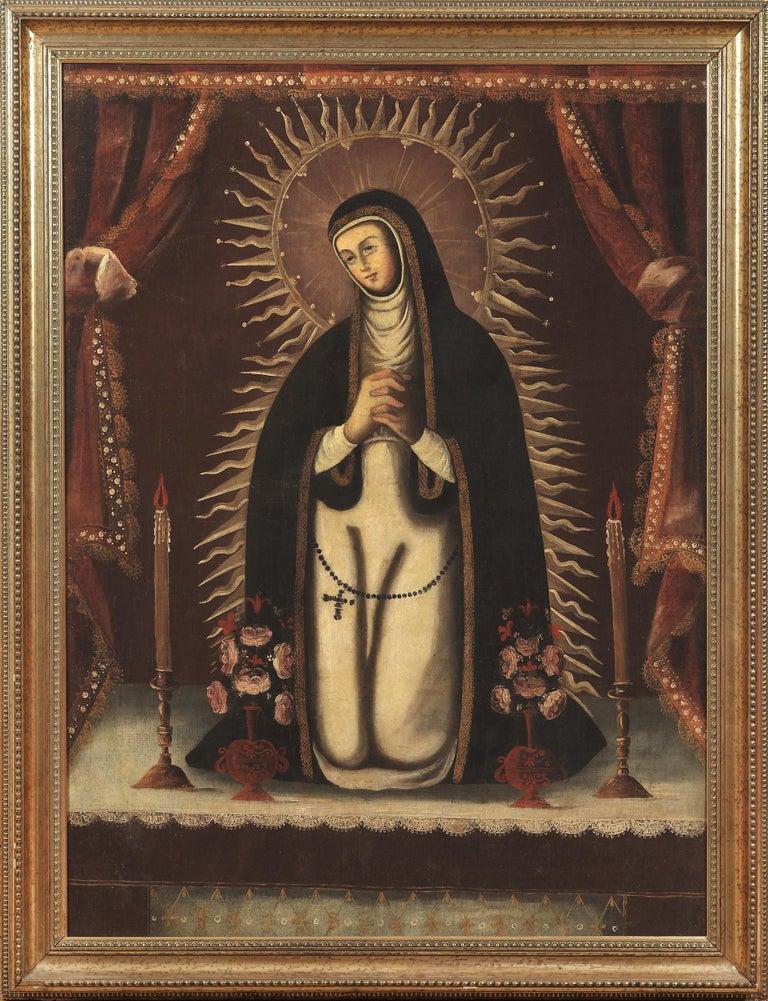 Unknown Figurative Painting - Nuestra Señora de la Soledad (Our Lady of Solitude)