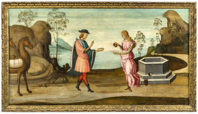 <i>Rebecca at the Well</i>, ca. 1500, by Master of the Apollo and Daphne Legend, offered by Robert Simon Fine Art