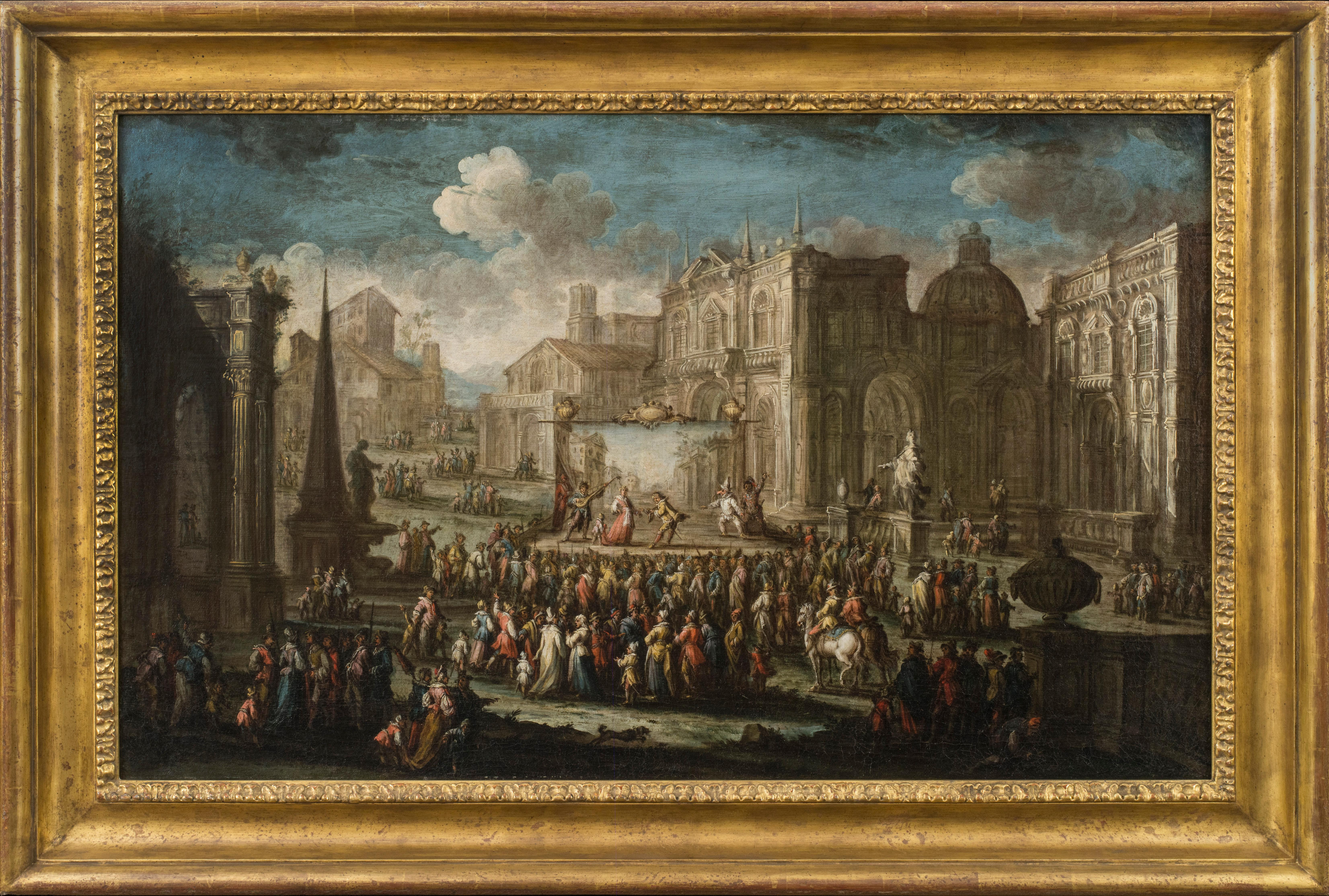 A Performance from the Commedia dell'Arte Set in a Piazza, 1725–1730, by Florentine father and son Gherardo Poli and Giuseppe Poli, offered by Robert Simon Fine Art