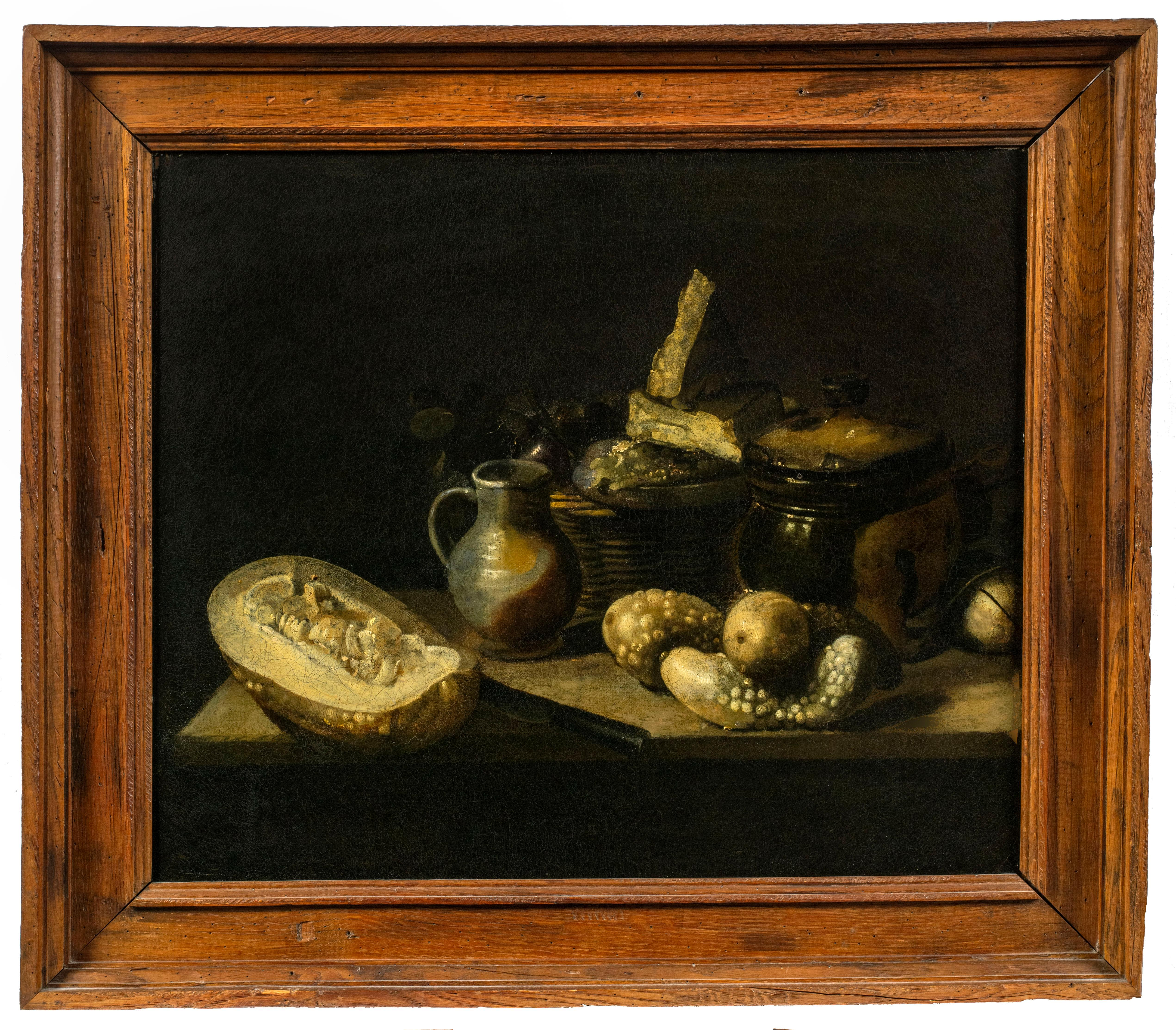 Still Life with Squash, Gourds, Stoneware, and a Basket with Fruit and Cheese