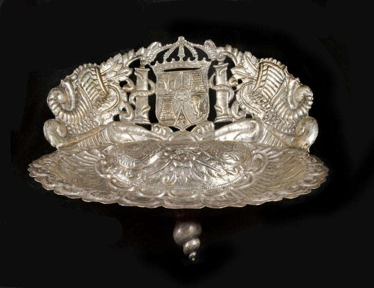 Spanish Colonial Silver Baptismal Dish  For Sale 1