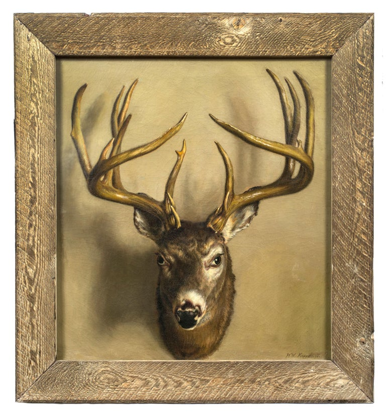 Henry W. Keppelmann Still-Life Painting - A Trompe l'oeil of a Stag's Head