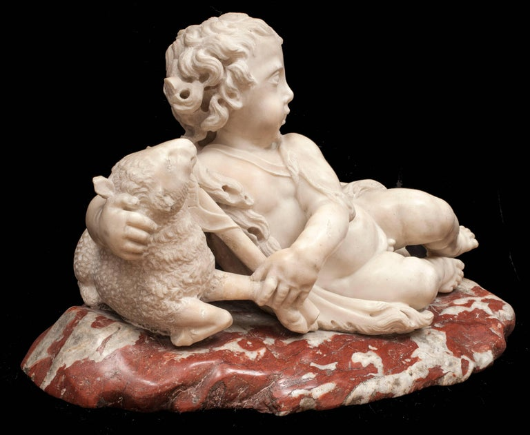 The Infant St. John the Baptist with a Lamb - Beige Nude Sculpture by Unknown