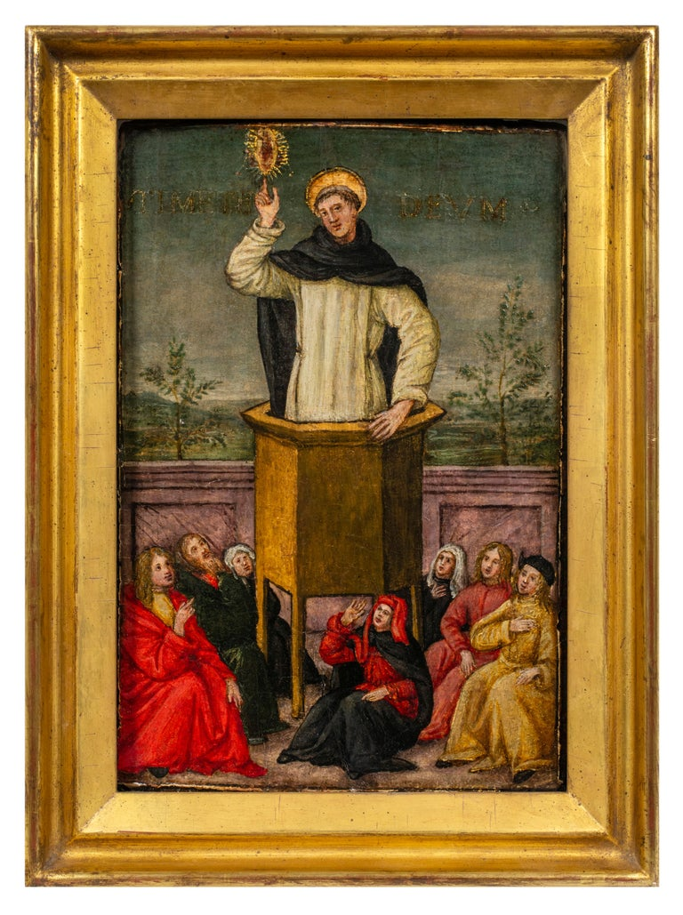 Master of Montespertoli Figurative Painting - St. Vincent Ferrer Preaching to the People of Salamanca