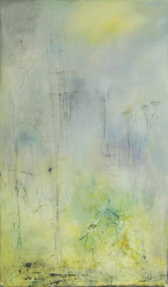 Nivose,  French, Mid Century atmospheric abstract in layered encaustic wax
