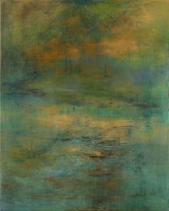Highlands #39, atmospheric encaustic painting in deep jewel tones