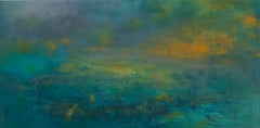 Highlands #46, atmospheric encaustic painting in deep jewel tones