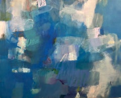 Blue Bubbles, contemporary abstract, oil stick on panel in vibrant blues