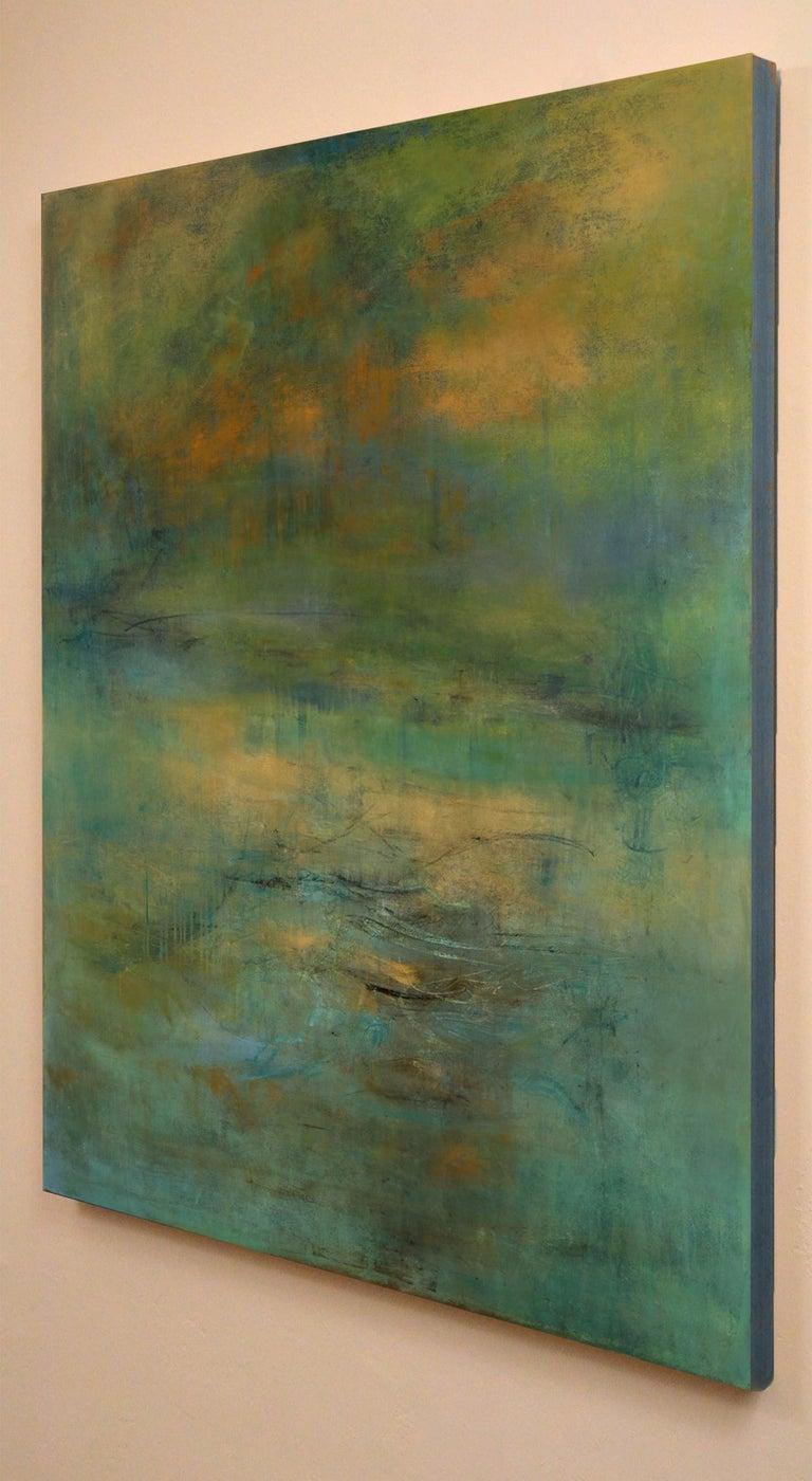 Highlands #39, atmospheric encaustic painting in deep jewel tones - Painting by Martine Jardel
