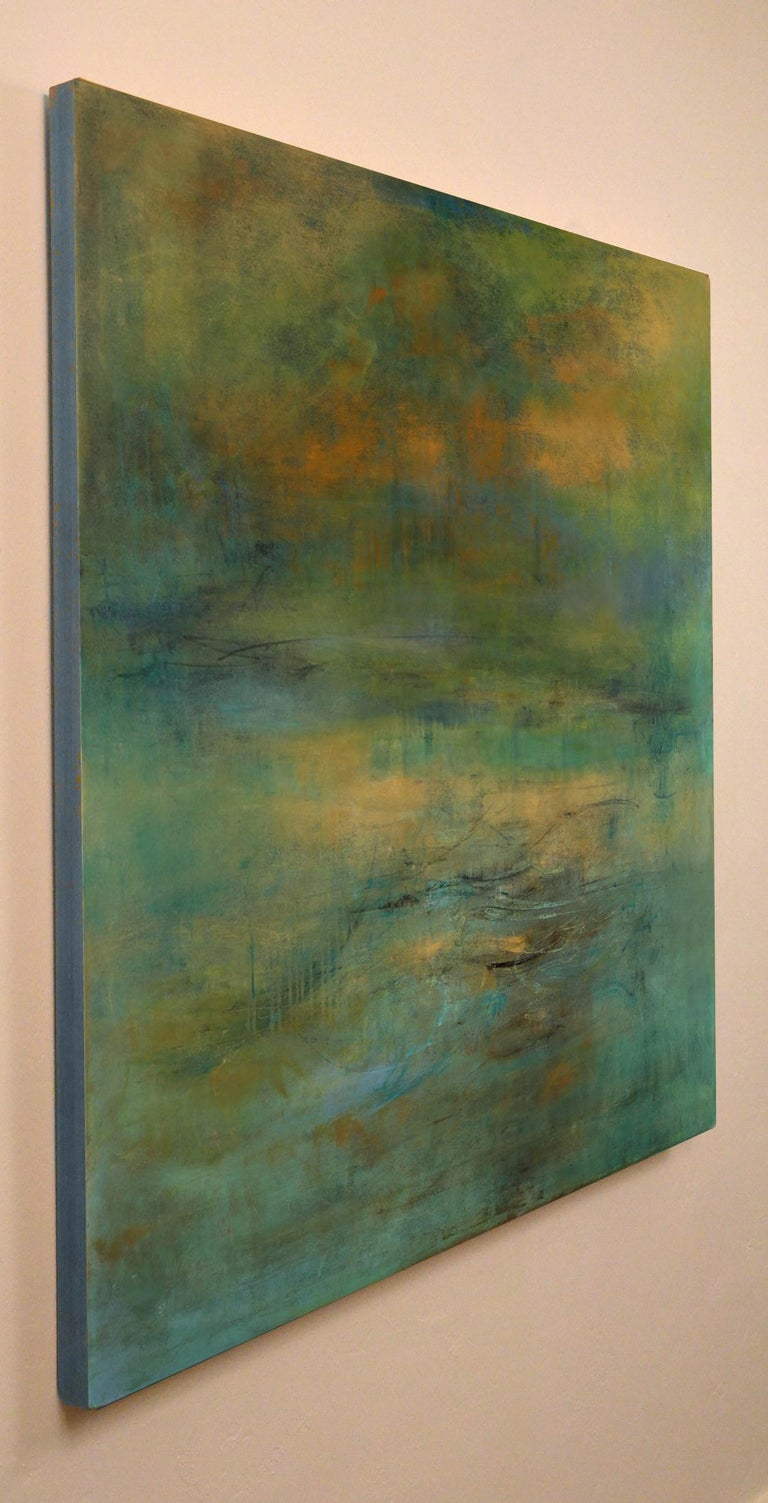 Highlands #39, atmospheric encaustic painting in deep jewel tones - Abstract Impressionist Painting by Martine Jardel