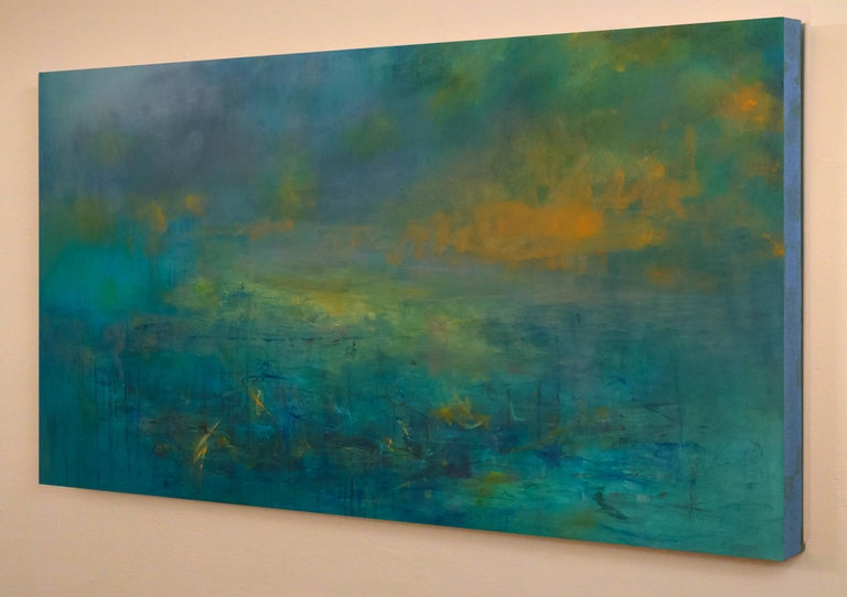 Highlands #46, atmospheric encaustic painting in deep jewel tones - Abstract Impressionist Painting by Martine Jardel