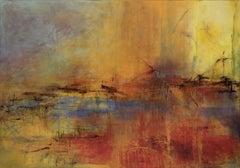 Tears of Color 3, atmospheric encaustic painting in deep rich jewel tones