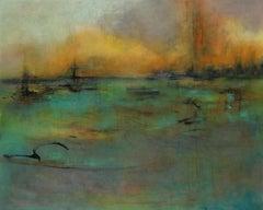 Tears of Color 6, atmospheric encaustic painting in deep rich jewel tones