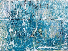 Blue Ice, vivid blue tones, abstract, textured acrylic on paper, deckled edge