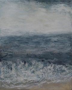 Fog 3:18, ocean seascape, abstract realism encaustic on panel