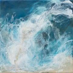 Mariesa 9, ocean seascape, abstract realism encaustic on panel