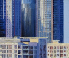 Triplicity, dynamic sophisticated cityscape in vibrant blues, acrylic on panel
