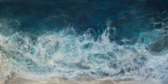 Hidden Beach, ocean seascape, abstract realism encaustic on panel