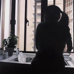 Dishes,  Mid Century figurative realism, oil on panel