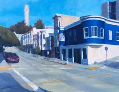 Coit Tower II, Art Deco cityscape of San Francisco, oil on canvas, framed