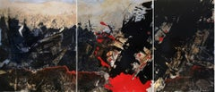 Sacrifiés. 21st C original contemporary abstract triptych painting by P. Bost.
